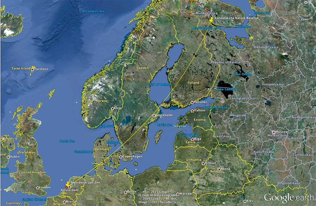 The location where KW52 was ringed in Russia and where it was seen in The Netherlands.