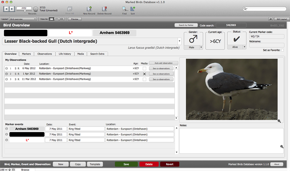 The Bird Overview screen now shows the Markers that the bird is fitted with (a maximum of 4).